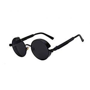 Óculos de Sol Redondo Detalhes Parafusos e Molas com Proteção Lateral Steampunk