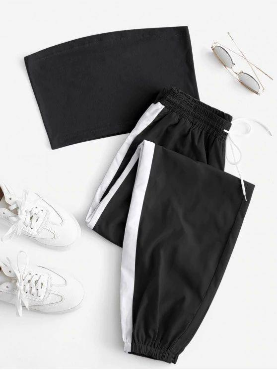 Conjunto top preto com calça