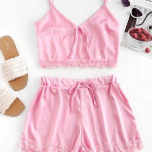 Conjunto rosa de laço