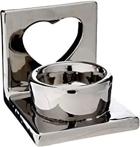 Porta Vela Coração Bencafil, Prata, 8 x 7.5 x 7 cm
