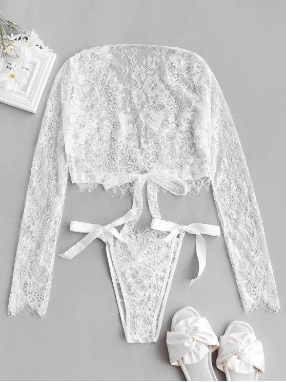 conjunto lingerie tule e renda