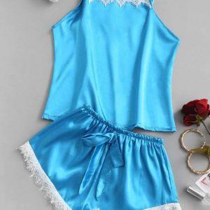 Pijama de cetim com renda – azul marinho