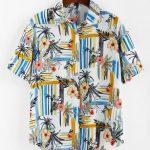 Camisa floral com listra fashion