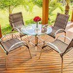 Conjunto de 4 cadeiras e mesinha para deck de piscina,