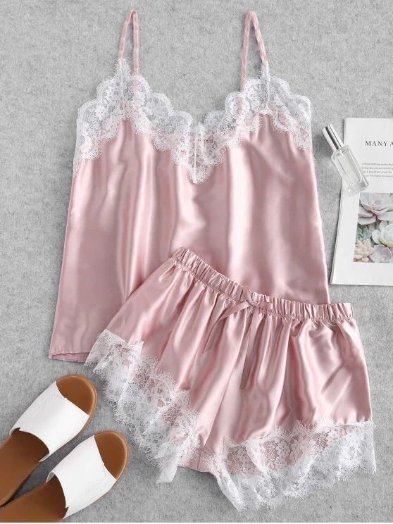 Pijama cetim rosa de renda