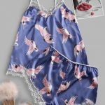 Pijama estampa flamingo de renda