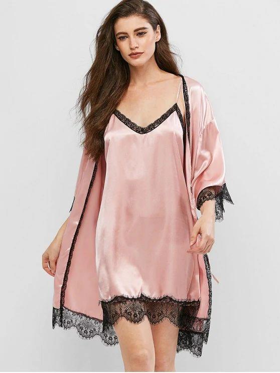 Vestido pijama de cetim de renda – rosa