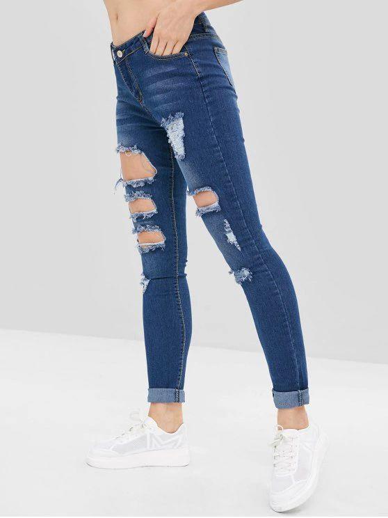 Calça jeans com detalhes tumblr