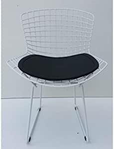 Cadeira Bertoia Pintada Branco Assento Preto