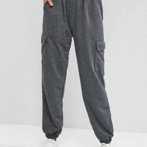 Calça cintura alta cinza