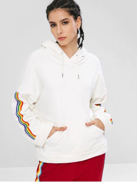 blusa moletom branco com listra lateral-arco iris