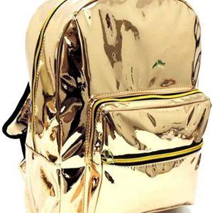 Mochila Bolsa Costas Holográfica Grande Escolar Fashion Dourada Tam G Feminina Universitária