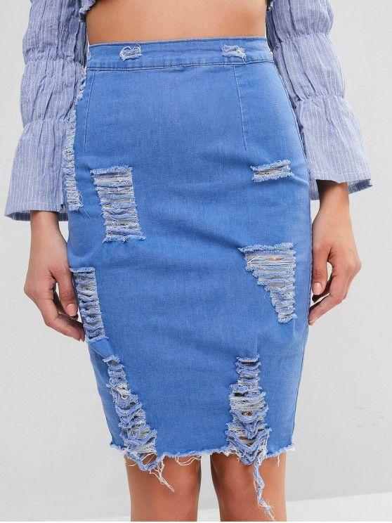 saia jeans com detalhes