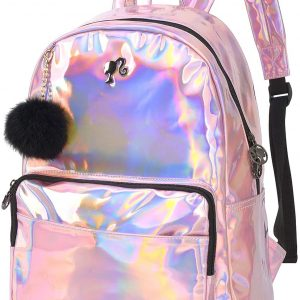 Mochila bolsa feminina Holografica metalizada Barbie luxcel pink