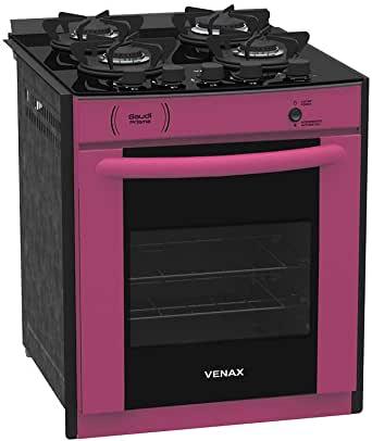 Fogão 4 Bocas Venax Gaudi Prisma Vitreo Bivolt Pink
