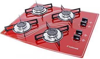 Fogão Cooktop Lines 4 Queimadores Bivolt Vermelho