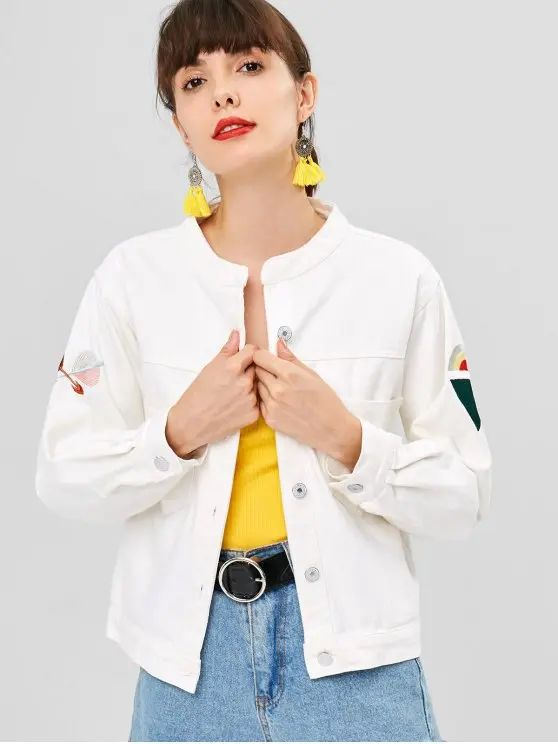 Jaqueta jeans branco com mangas customizada