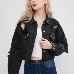 jaqueta jeans preta tumblr