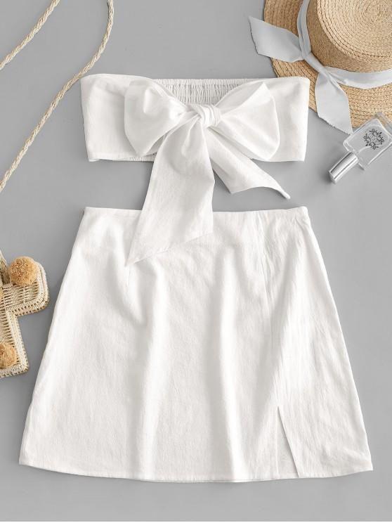 conjunto saia branca com top com laço