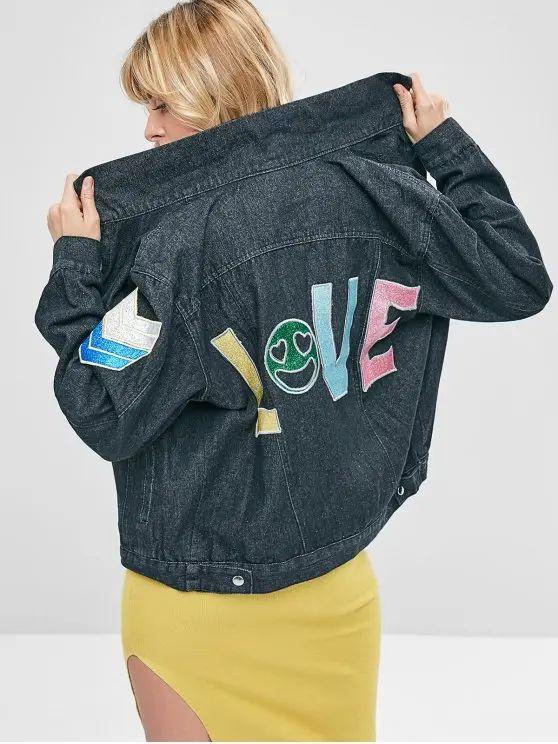 Jaqueta jeans personalizada escrito love atras
