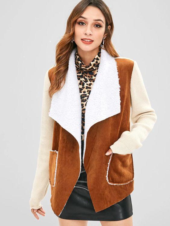 Blusa veludo marrom e branco