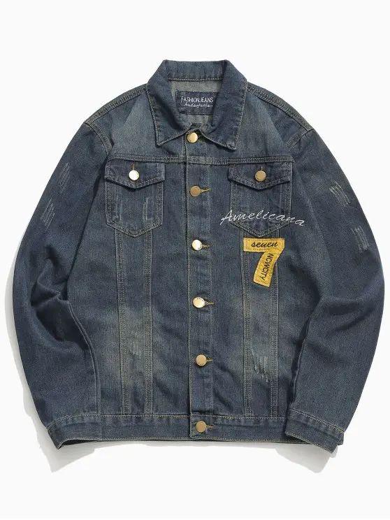 Jaqueta jeans com numero 7