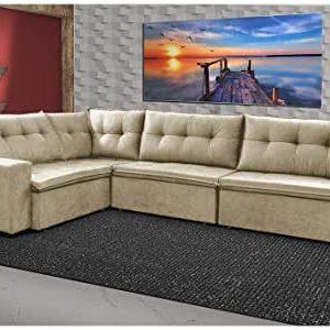 Sofa de Canto Retrátil e Reclinável com Molas Cama -Bege