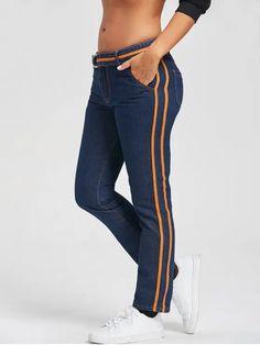 calça jeans com listra laranja
