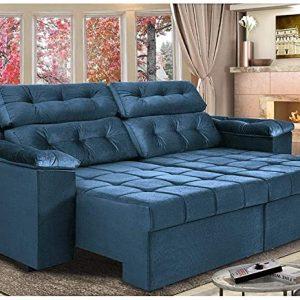 Sofá New Itália 2,52m Retrátil e Reclinável Tecido Suede Azul