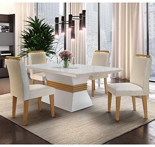 Conjunto Sala de Jantar Mesa e 4 Cadeiras  Veludo Creme/Off White/Imbuia