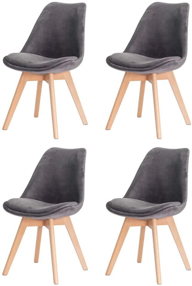 Kit 4 Cadeiras Veludo Cinza