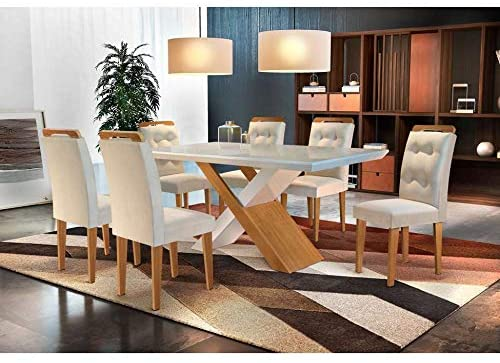 Conjunto de Mesa de Jantar com 6 Cadeiras Veludo Creme com Imbuia e Off White