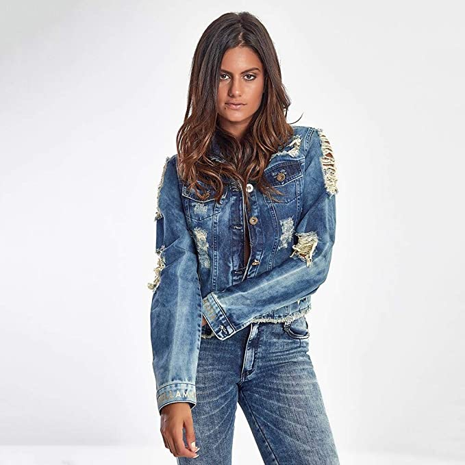 Jaqueta Jeans Feminina Destroyed