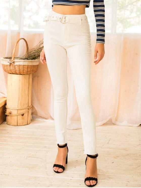 Calça jeans branca com cinto