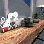 Escultura de Mesa Adorno Branco I Love My Pets