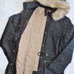 Casaco parca jaqueta de couro forrada feminina