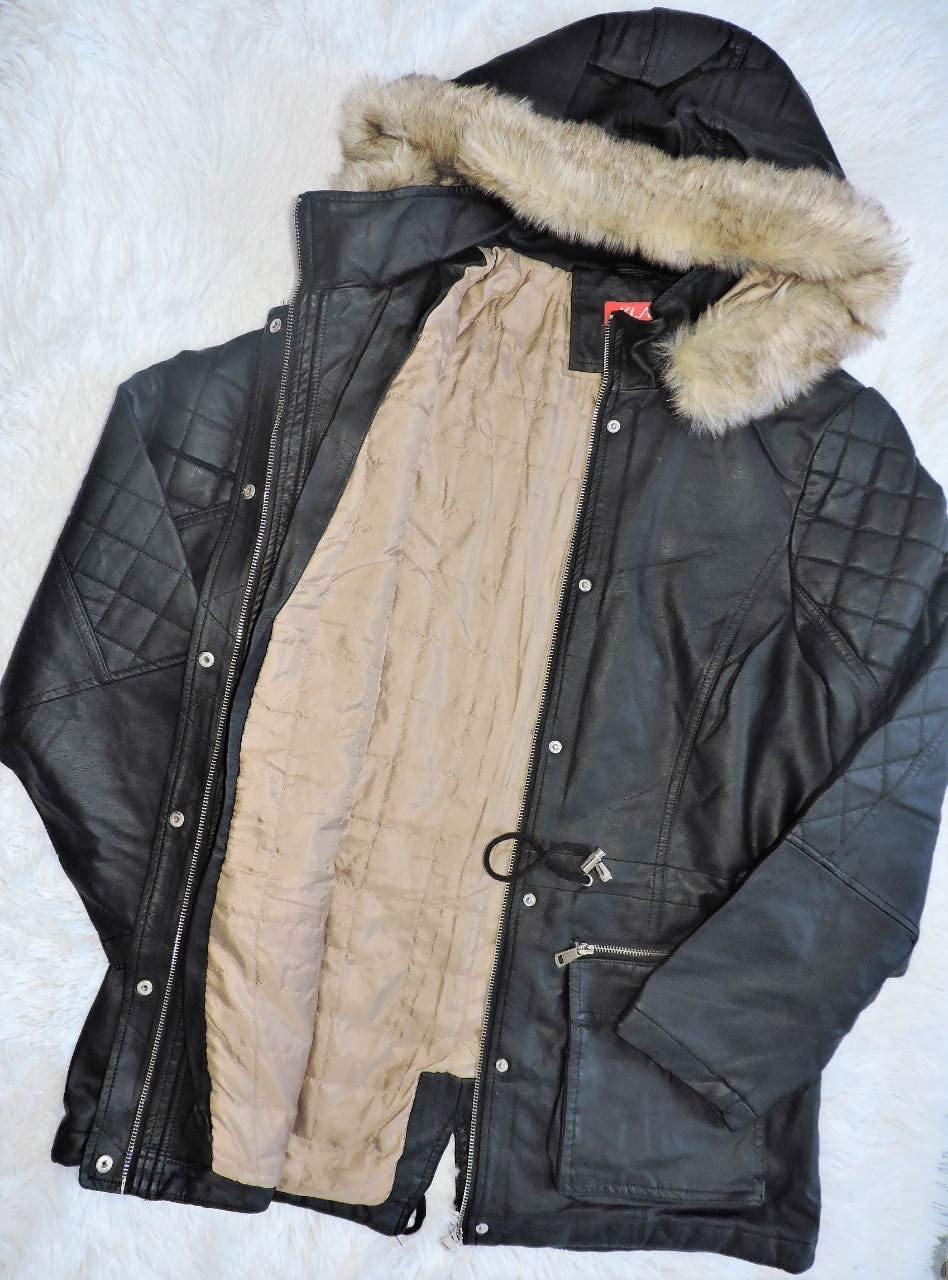 Casaco parca jaqueta de couro