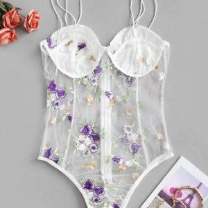 Body lingerie tule floral – Branco