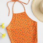 Top laranja com estampa floral
