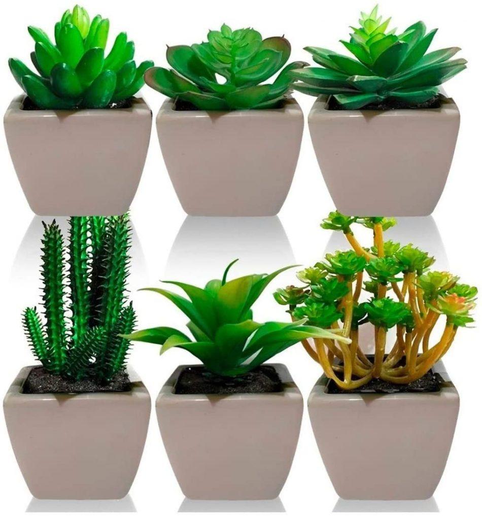 Kit Com 3 Plantas Mini Suculenta Cacto Artificiais