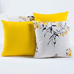 Kit c/ 4 Almofadas Cheias Decorativas Floral Amarelo/Branco