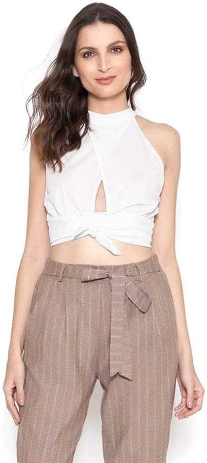 Cropped gola alta amarracao