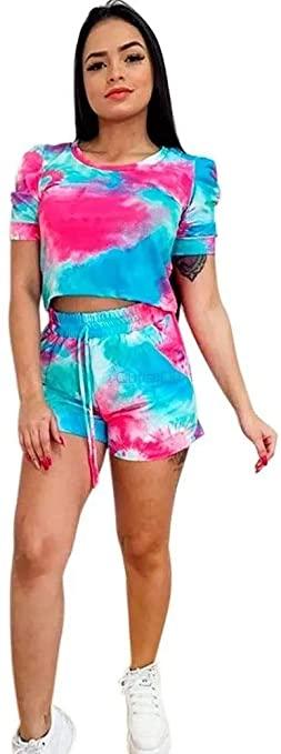 Conjunto moda tie dye blusa Cropped e short