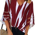 Blusa com gola V e listras de manga sino de verão