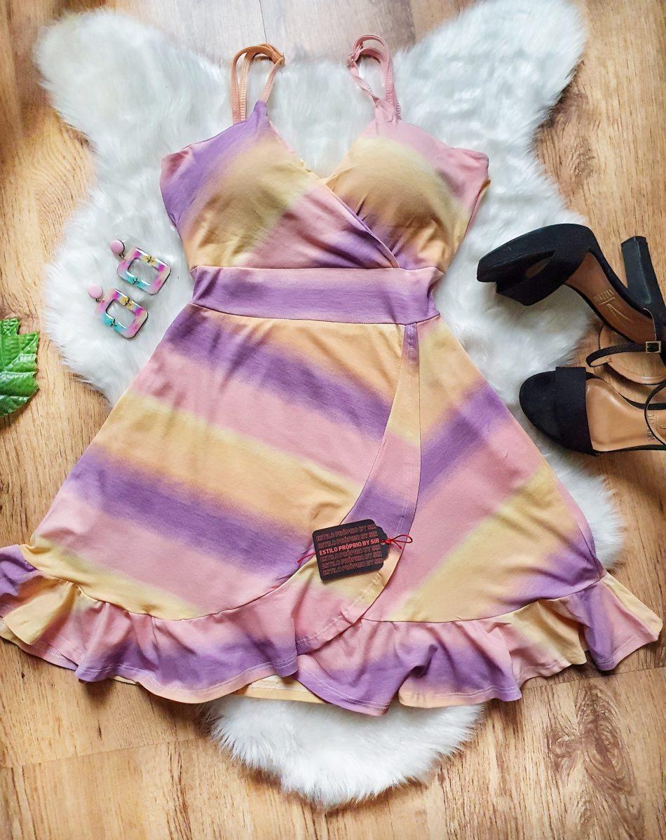 Vestido tie dye roxo alcinha babado