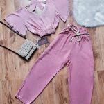 Conjunto cropped e calça