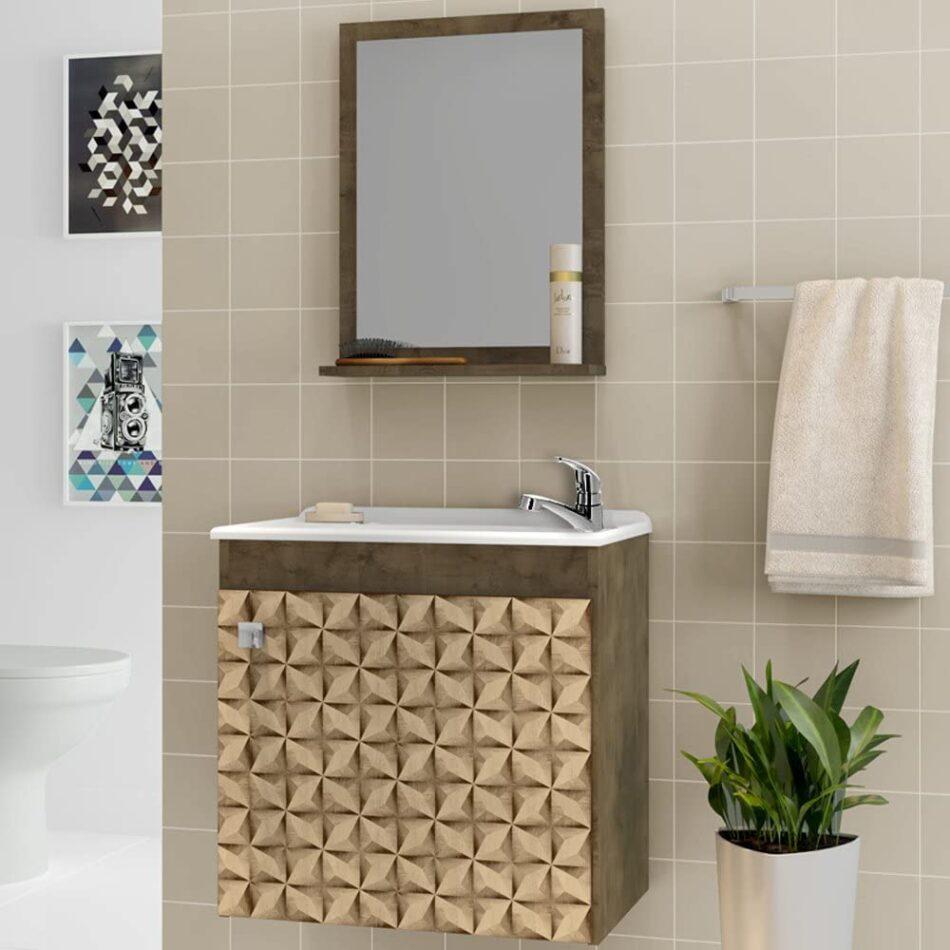 Gabinete de Banheiro Cor Madeira